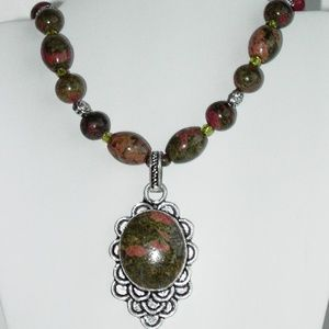 "Natural Unakite Silver plated 18"" necklace (#238)"